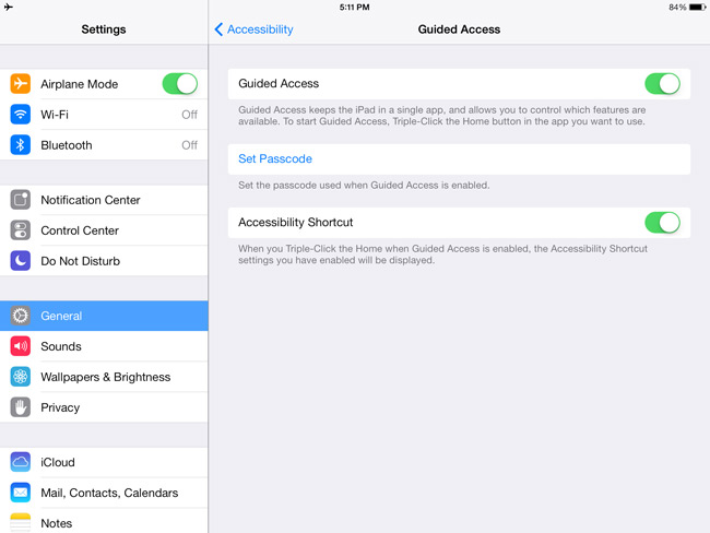 iPad Settings General Acessibility Learning Guided Access Enable